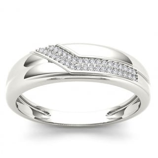Link to De Couer S925 Sterling Silver 1/8 ct TDW Diamond Men's Wedding Band Similar Items in Wedding Rings