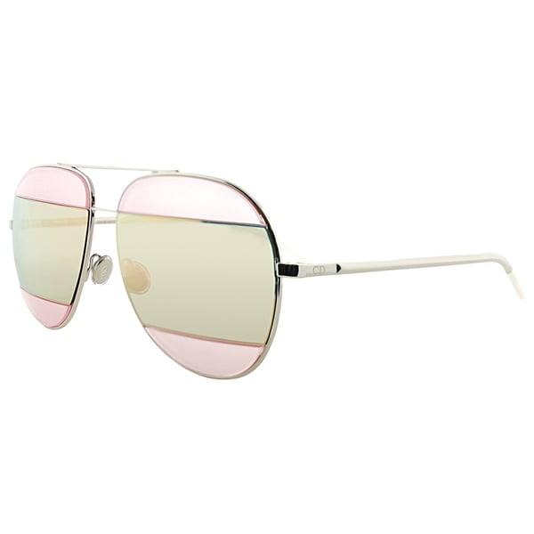 7abf1cbd140 Dior Dior Split 2 010 0J Palladium Metal Aviator Pink Mirror Lens Sunglasses