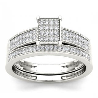 De Couer S925 Sterling Silver 1/4 CT TDW Wedding Ensemble Ring