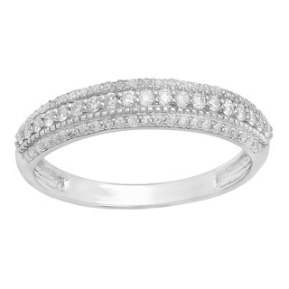 10k Gold 1/3ct TDW Round White Diamond Bridal Anniversary Wedding Band Stackable Ring (I-J, I2-I3)
