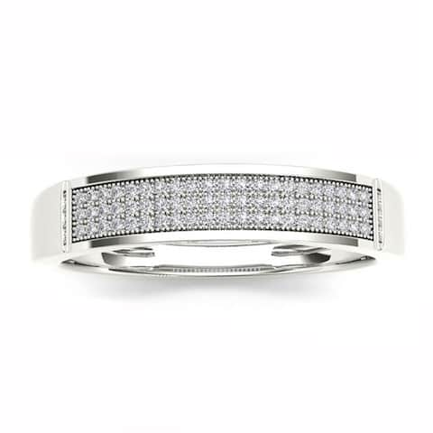 De Couer IGI Certified S925 Sterling Silver 1/6ct TDW Diamond Men's Band