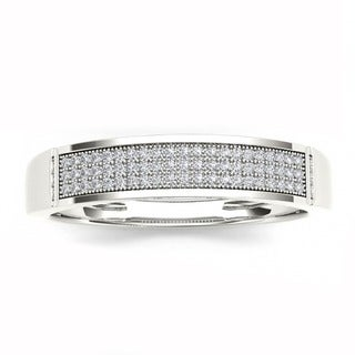 De Couer S925 Sterling Silver 1/6ct TDW Diamond Men's Band