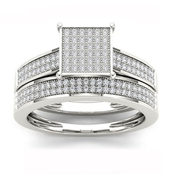 De Couer S925 Sterling Silver 1/3ct TDW Diamond Wedding Ring Set