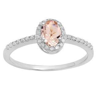 Sterling Silver 3/4ct Oval-cut Morganite and Round-cut White Diamond Engagement Ring (I-J, I2-I3)