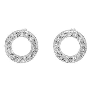 10k White Gold 1/10ct TDW Round-cut White Diamond Circle Shape Fashion Stud Earrings (I-J, I2-I3)