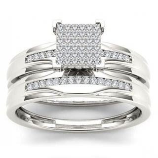 De Couer S925 Sterling Silver 1/5ct TDW Diamond Ring Set