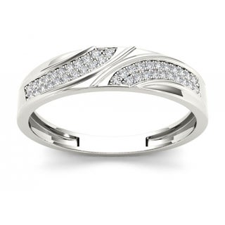De Couer S925 Sterling Silver 1/5ct TDW Diamond Men's Band (H-I, I2)