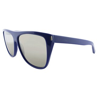 Saint Laurent SL 1 DTO DTO Blue Plastic Square Silver Mirror Lens Sunglasses