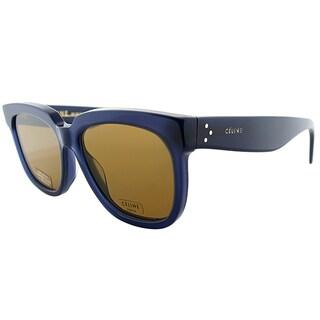 Celine CL 41057 M23 Transprent Blue Plastic Square Sunglasses Brown Lens