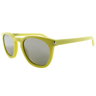 Saint Laurent SL 28 BH BHC Electric Yellow Plastic Square Silver Mirror Lens Sunglasses