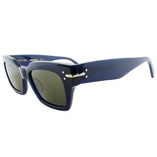 Celine CL 41070 M23 Transprent Blue Plastic Square Green Lens Sunglasses