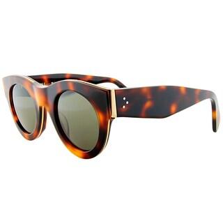 Celine CL 41096 D67 Havana Plastic Round Green Lens Sunglasses
