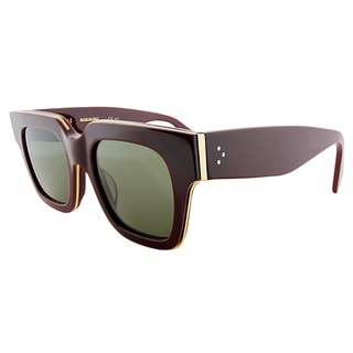 Celine CL 41097 D65 Burgundy Plastic Square Green Lens Sunglasses