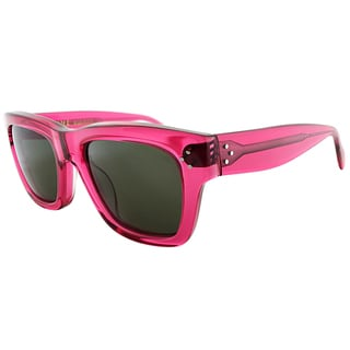 Celine CL 41732 F51 Transparent Pink Plastic Rectangle Sunglasses Green Lens