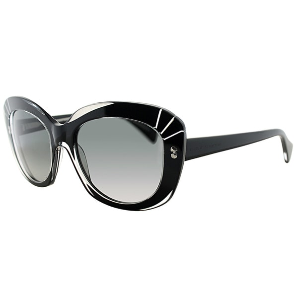 9f10cb9f4cb0 Alexander McQueen AMQ 4214 MH9 VK Black Crystal Plastic Cat-Eye Grey  Gradient Lens Sunglasses - Free Shipping Today - Overstock - 20122649