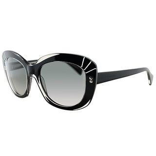 Alexander McQueen AMQ 4214 MH9 VK Black Crystal Plastic Cat-Eye Grey Gradient Lens Sunglasses