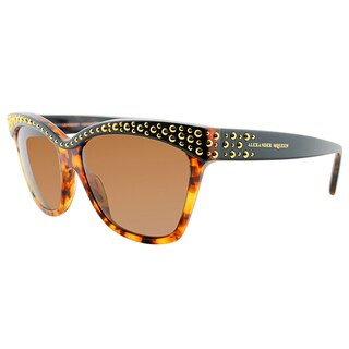 Alexander McQueen AMQ 4239 2IE 8U Havana Black Gold Plastic Cat-Eye Brown Gradient Lens Sunglasses