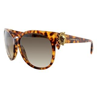 Alexander McQueen AMQ 4245 2IC Havana Plastic Round Brown Gradient Lens Sunglasses