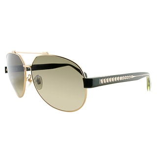 Alexander McQueen AMQ 4264 P8V DB Gold Black Metal Aviator Brown Gradient Lens Sunglasses