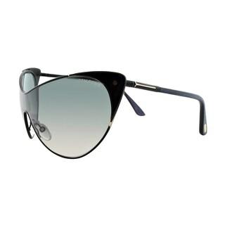 Tom Ford TF 364 01B Vanda Black Metal Cat-Eye Grey Gradient Lens Sunglasses