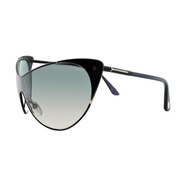 c9e1093e16 Tom Ford TF 364 01B Vanda Black Metal Cat-Eye Grey Gradient Lens Sunglasses