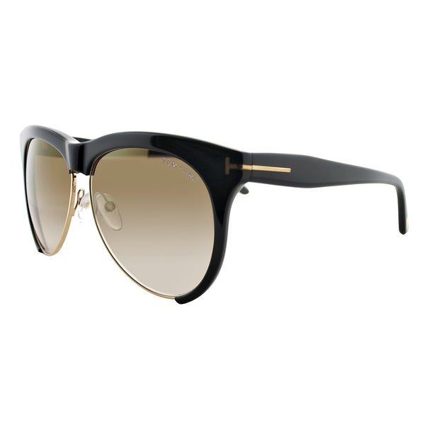 3d9a552b08c1 Tom Ford TF 365 01G Leona Black Plastic Square Brown Gradient Lens  Sunglasses