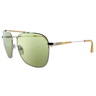 Tom Ford TF 377 14N Edward Gunmetal Metal Aviator Green Lens Sunglasses