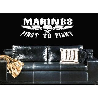 Marine Decal Marine Sticker Marine Skull Wall Art The Few The Proud The Marines Sticker Decal size 48x76 Color Black