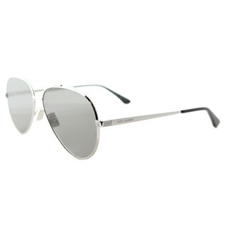 Saint Laurent SL Classic 11 Zero 001 Silver Metal Aviator Grey Crystal Flat Lens Sunglasses