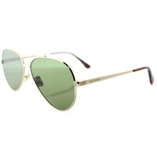 Saint Laurent SL Classic 11 Zero 002 Gold Metal Aviator Sunglasses Green Crystal Flat Lens