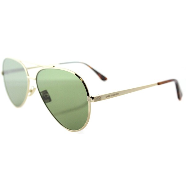 f570842f7b9 Saint Laurent SL Classic 11 Zero 002 Gold Metal Aviator Sunglasses Green  Crystal Flat Lens