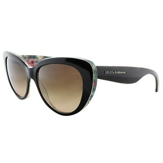 Dolce & Gabbana DG 4189 278113 Dark Havana on Floral Plastic Cat-Eye Sunglasses Brown Gradient Lens