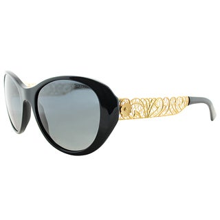 Dolce & Gabbana DG 4213 501 T3 Black Gold Plastic Cat-Eye Sunglasses Grey Polarized Gradient Lens