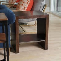 "Haven Home Wyatt 24"" Modern Industrial Dark Walnut Nightstand End Table by Hives & Honey"