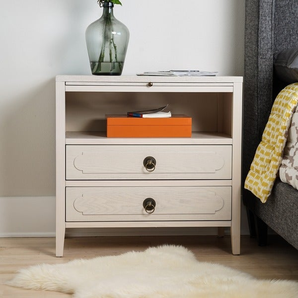 Posh Pollen Grant White Nightstand End Table