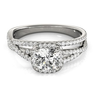 Transcendent Brilliance Criss Cross Cushion Cut Halo Diamond Engagement Ring 4/5 TDW