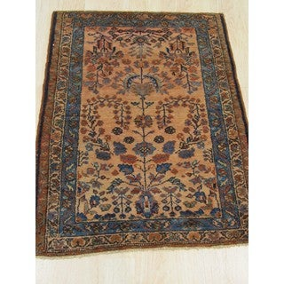 EORC YZ725 Hand Knotted Wool Lilihan Rug, 2'7 x 3'7, Beige