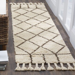 Safavieh Hand-Woven Casablanca Ivory/ Brown / Cotton Wool Runner (2' x 8')
