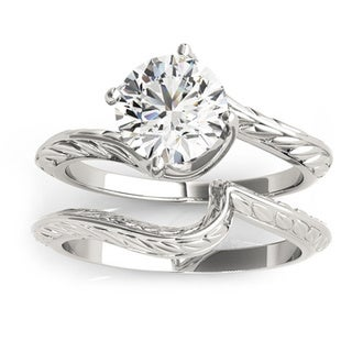 Transcendent Brilliance Curved Band Solitaire Diamond Bridal Ring Set 1/2 TDW