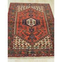 Hand-knotted Wool Rust Traditional Oriental Hamadan Rug (3'4 x 5'7)