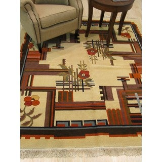 Hand-knotted Wool Ivory Traditional Oriental Modern Bucharest Rug (6'6 x 7'3)