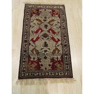 EORC YZ635 Baluchi Ivory Wool Hand-knotted Rug (2'6 x 4'4)