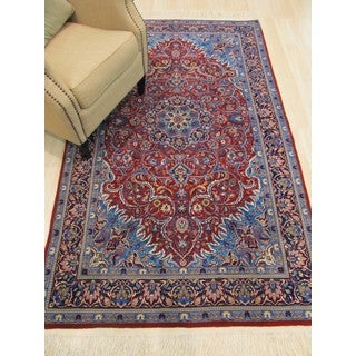 EORC YZ541 Sarouk Rust Wool Hand-knotted Rug (4'5 x 7'5)