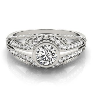 Transcendent Brilliance Bezel Set Split Shank Diamond Engagement Ring 1 3/8 TDW