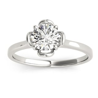 Transcendent Brilliance Solitaire Petite Halo Diamond Engagement Ring 1/3 TDW