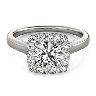 Transcendent Brilliance Contemporary Square Halo Diamond Engagement Ring 1 1/10 TDW