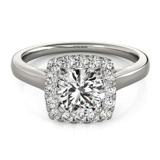 Transcendent Brilliance Contemporary Square Halo Diamond Engagement Ring 1 1/10 TDW
