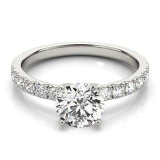 Transcendent Brilliance 14k Gold Classic Diamond Shank Engagement Ring 1/2 TDW