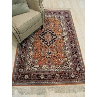 Hand-knotted Wool Rust Traditional Oriental Tabriz Rug (4' x 6'1)