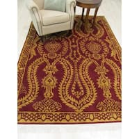 Hand-knotted Wool Red Traditional Oriental Indo-Nepal Rug - 6'3 x 9'